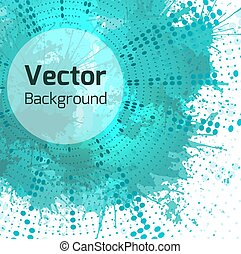 Vector background with halftone pattern, turquoise watercolor sp