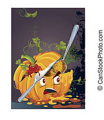 vector background with halloween pumpkin
