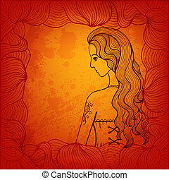 Vector background with hand drawn girl