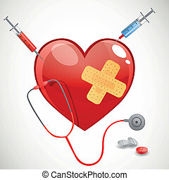 Vector Background with Heart and Stethoscope - Vector ...