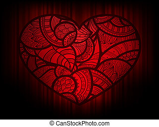 vector background with heart doodle