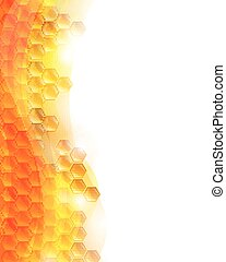 Vector Background with Honeycombs and the Bees - Vector...