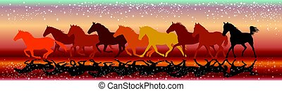 Vector background with horses galloping in the sunset