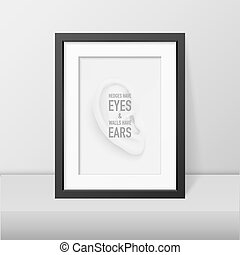 Vector background with human ear closeup and quote in black...