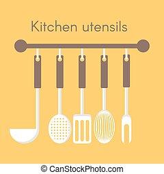 Vector background with kitchen utensils.