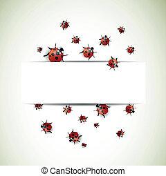 Vector Background with Ladybugs