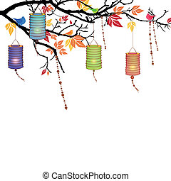 Vector Illustration of an Autumnal Background with lanterns