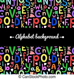 Vector background with Latin letters of different sizes in a cartoon style