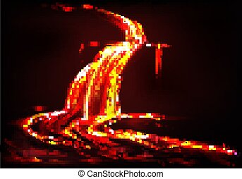 Vector background with lava river, volcano eruption - Vector...