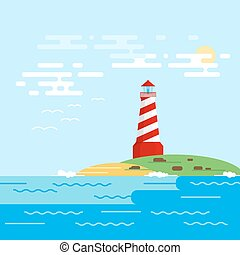 Vector background with lighthouse, sea, waves in a daytime. Searchlight tower in ocean.
