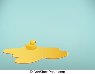 Vector background with little rubber duck swimming in a ...