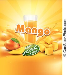 vector background with mango, a glass of juice, slices of...