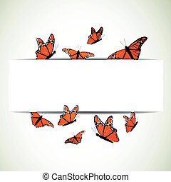 Vector Background with Monarch Butterflies - Vector...
