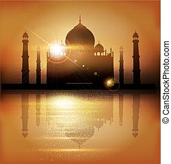 vector background with mosques and minarets to the holiday Mubarak