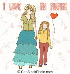 Vector background with mother and daughter. Cartoon card. Backdr