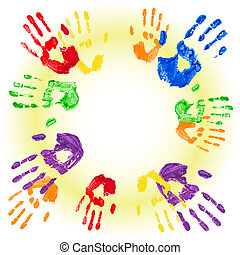 Vector background with multicolored handprints