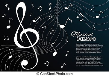 Vector background with music notes and key.