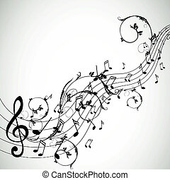 Vector Background with Music notes - Vector Illustration of...