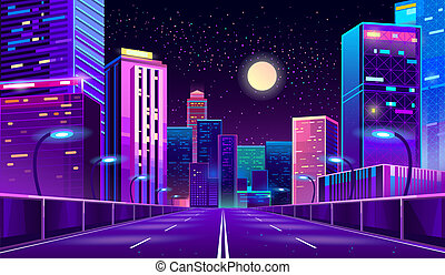 Vector background with night city in neon lights