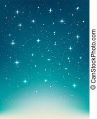 Vector background with night, stars in the sky, shining light