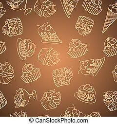 Vector background with of cake in retro style. Seamless pattern