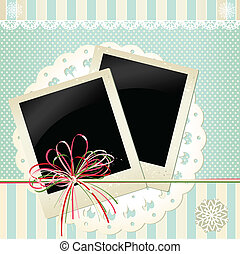 Vector background with lace and old photos