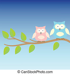 background with owls  on brunches