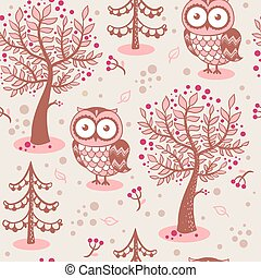 Vector background with owls.