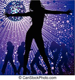 people dancing in night-club - Vector background with people...