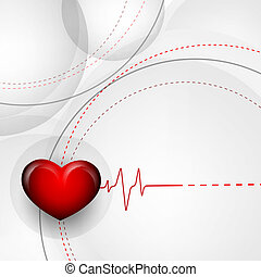 vector background with pulse and heart. Eps10