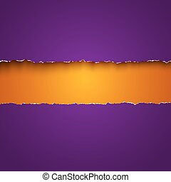 purple and orange torn papers - Vector background with ...