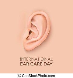 Vector background with realistic human ear closeup....