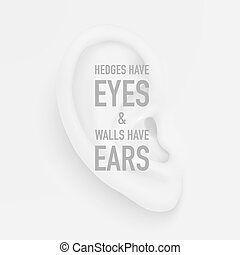Vector background with realistic human ear closeup and quote...