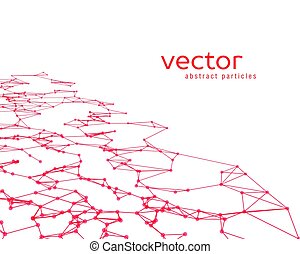 Vector background with red abstract particles.