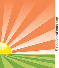 vector abstract agriculture background with rising sun