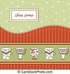 Retro greeting card with hand-drawn cups and text Tea time