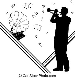 vector background with trumpeter, gramophone and notes