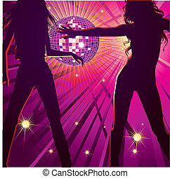Vector background with two girls dancing in night-club, disco-ball and glitters