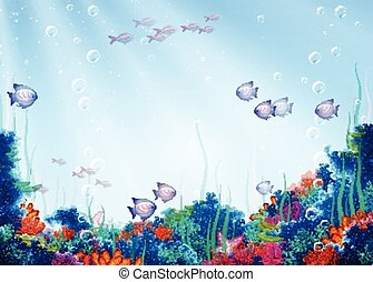 Vector background with underwater cave - Vector illustration...