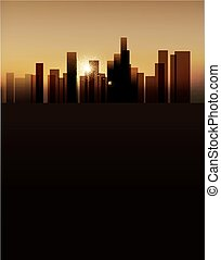 vector background with urban landscape (buildings and sunrise. vertical version)
