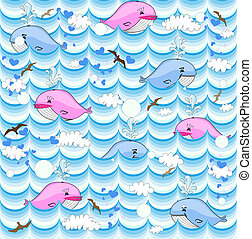 vector background with whales