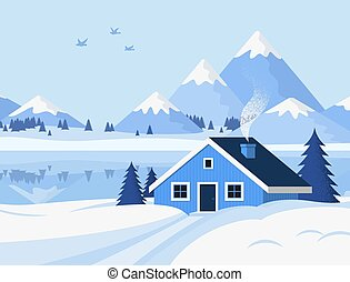 Vector background with winter mountain landscape, river, pine trees, and a small house. Christmas illustration in flat style. Good for postcards, greeting cards, website banners and more.