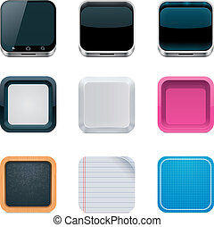 Vector backgrounds for square icons - Set of the detailed ...