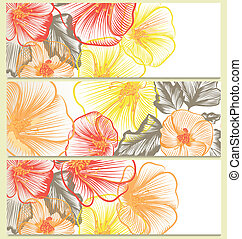 Vector backgrounds set with floral