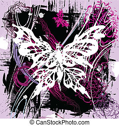 Vector backgroung with butterflies - Vector pictorial grunge...