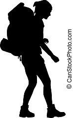 Vector Backpacker - Girl with backpack vector silhouette....