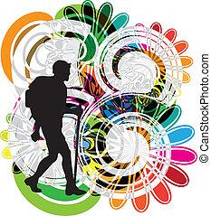 vector, backpacker., illustratie
