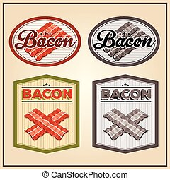 Vector bacon meat vintage labels