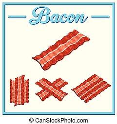 Vector bacon set. Hand drawn bacon.