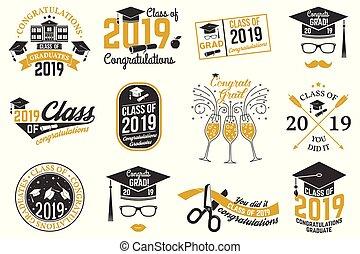 vector, badge., 2019, clase